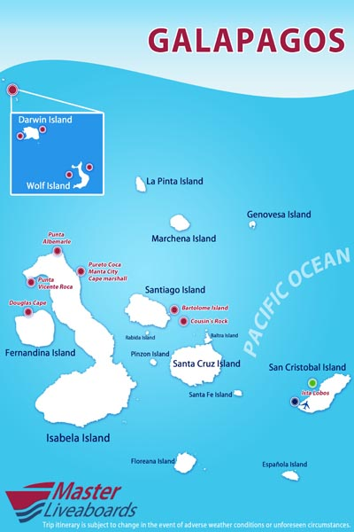 galapagos dive site map and route