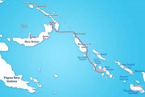 Rabaul to Munda map