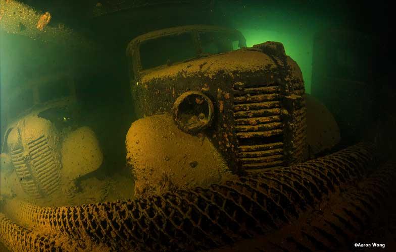 Trucks inside Hoki Maru in Truk Lagoon
