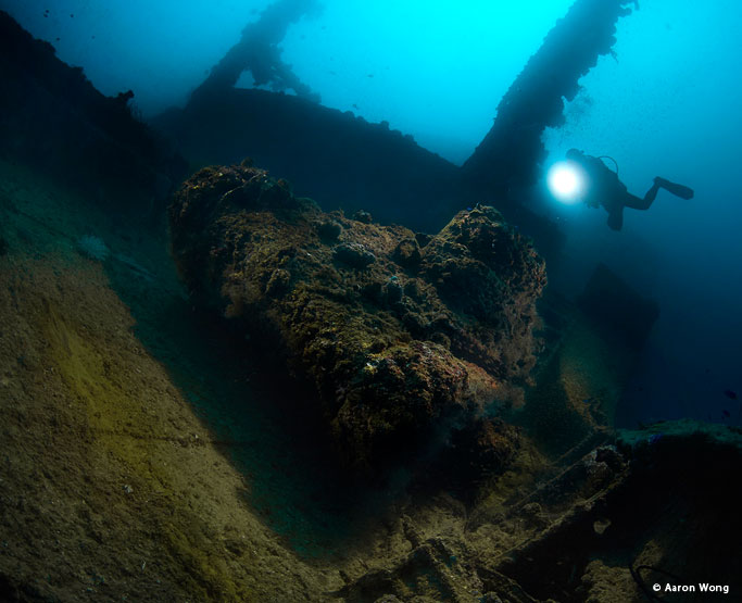 Wreck with model in Truk Lagoon