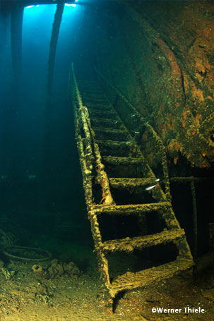 Stairs inside a wreck