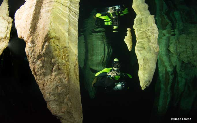 Diver in Chandelier Cave in Palau.
